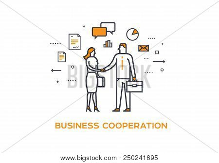Businessmen shaking hands. Cooperation interaction. illustration Eps 10 file. Success Cooperation and Investments stock photo
