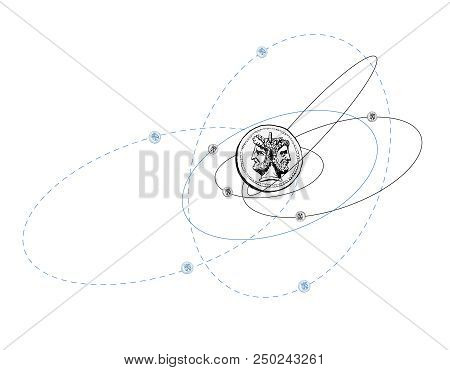 Quantum mechanics. The corpuscular-wave duality of elementary particles. Humorous illustration. Mad orbits of electrons. Vector stock photo