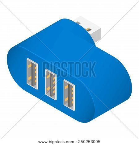 Blue usb hub icon. Isometric of blue usb hub vector icon for web design isolated on white background stock photo