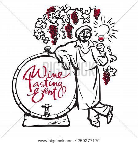Winemaker tasting red wine leaning on barrel in vineyard Hand drawn sketch vector Design for wine tasting events invitation for wine festivals party restaurant bar wine list menu card. stock photo