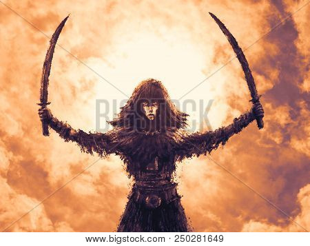 Warrior girl with two raised sabers. Fantasy illustration. Freehand digital drawing. stock photo