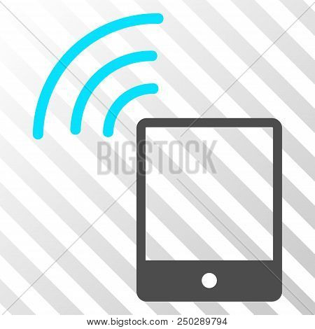Smartphone wi-fi signal vector pictograph. An illustration style is a flat iconic symbol on a hatch transparent background. stock photo