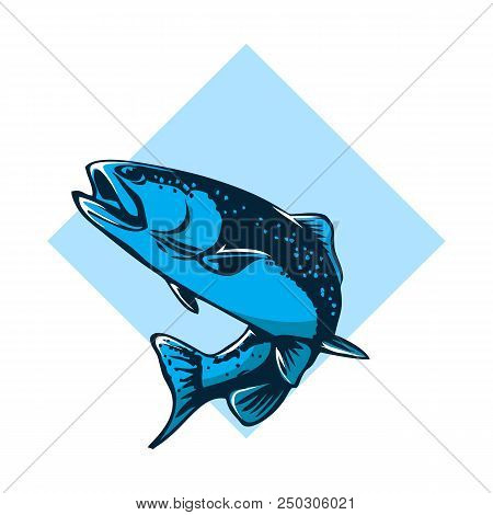 Catching Bass Fish. Fish Color. Vector Fish. Graphic Fish. Fish On A White Background. Fish On A Light Background. Bassfish. Fisherman. Fishing. Recreation Fishing. Big Fish. Fish Jumping. Beautiful. stock photo