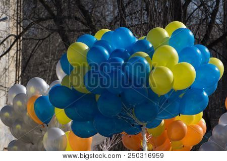 colourful balloons golden white streamers isolated stock photo