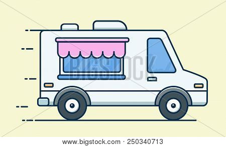 Street food van. Food Truck. Fast food delivery. Flat design vector illustration isolated on background stock photo