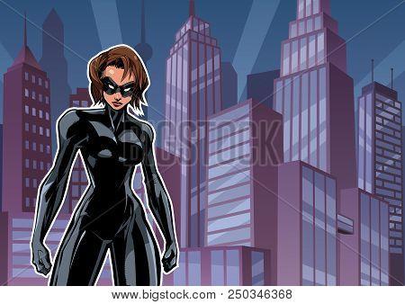 Illustration of powerful superheroine posing on city background. stock photo