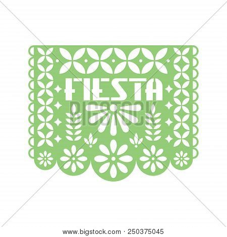 Paper greeting card with cut out flowers and geometric shapes. Papel Picado vector template design isolated on white background. Traditional Mexican paper garland. stock photo