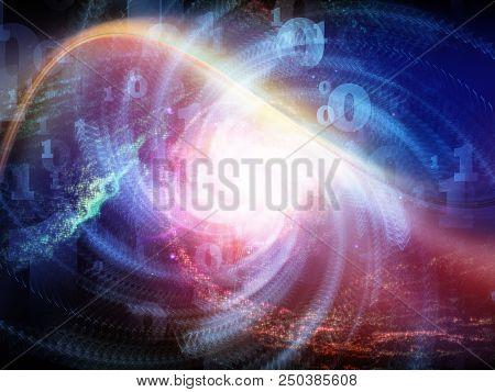 Math Universe series. Arrangement of digits and elements of space on the subject of mathematics, science, education and modern technology stock photo