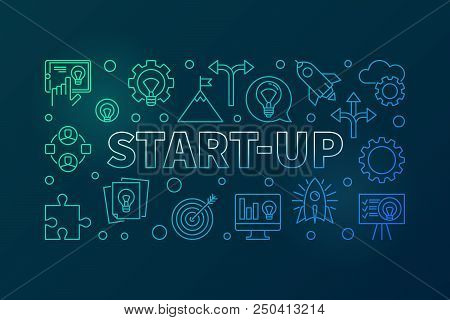 Start-Up horizontal illustration - vector Startup banner made with outline icons on dark background stock photo