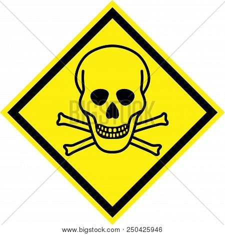 Yellow hazard sign with deadly danger symbol stock photo