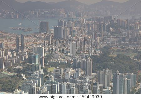 Kowloon viewed from above from the Lion Rock 2017 stock photo