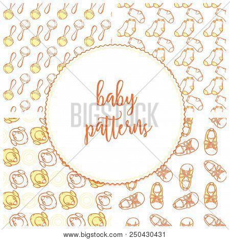 Illustration of baby shoes, rattler, yellow duck and socks in pattern. Baby items patterns for website bootee, socks. Infant clothing pattern for a banner, a flyer, a businesscard or a childbirth class. stock photo