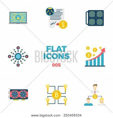 Cryptocurrency and Blockchain Related Flat Icons. Crypto Icon Set. Featuring Security, Smart Contract, Mining Farm, Decentralization, Analysis, Video Card, Multi Signature, Double Spending. stock photo