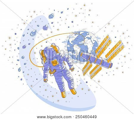 Astronaut flying in open space connected to space station and earth planet in background, spaceman in spacesuit floating in weightlessness and iss spacecraft, asteroids and stars. Vector isolated. stock photo