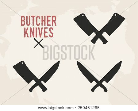 Kitchen knives set. Meat cleaver and kitchen knife. Vintage design. Vector illustration. stock photo