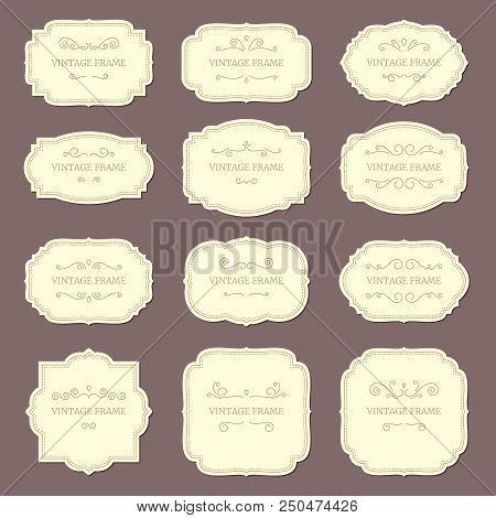 Vintage Label Frames. Old Fashioned Ornamental Labels, Fashion Product Victorian Tag Cardboard. Retr