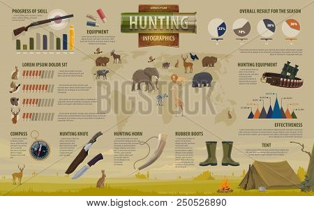 Hunting open season infographics for hunters and hunt equipment. Vector flat design of hunter skills percent share or Africa prey animals diagram and outfit type on world map statistics stock photo