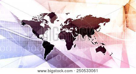 Worldwide Marketing Platform for Advertizing Industry Concept stock photo