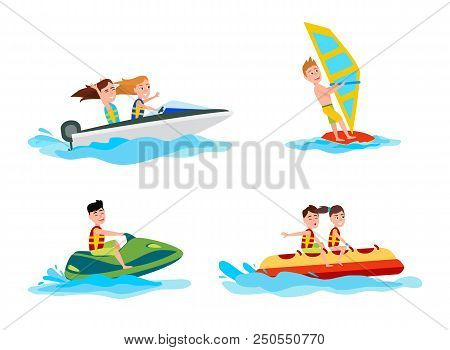 Sea and water activities of summer boating and windsurfing, banana boat and jet skiing, set of sport activity vector illustration isolated on white stock photo