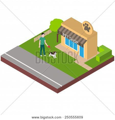 Isometric building pets or zoo store. Man walk with beagle to the shop. Dog walking service stock photo