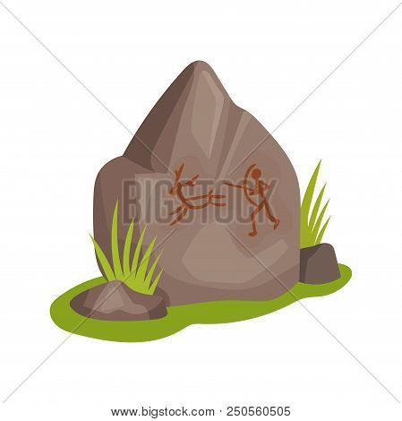 Cartoon icon of large stone with drawing on green grass. Prehistoric rock-painting. Ancient man hunting for animal. Stone Age theme. Colorful flat vector illustration isolated on white background. stock photo