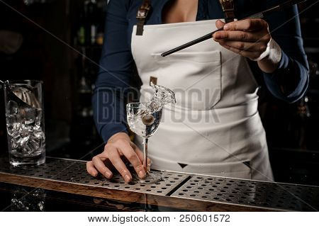 Bartender girl in the white apron putting into the transparent cocktail one olive with tweezers at the bar counter stock photo
