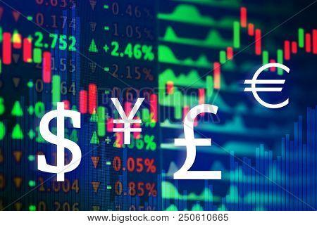 Stock exchange graphs and rates with currency symbols on color background. Financial trading concept stock photo