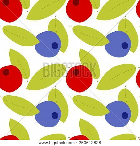 Fruit seamless pattern on transparent background,  cartoon berry with leaves stock photo