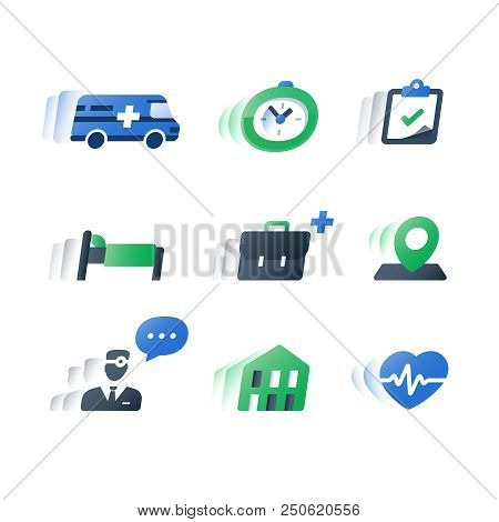 Health care services, medical procedure, professional doctor help, stationary treatment, patient attendance, time period hospitalization, fast recovery, annual heart checkup cardiogram, flat icons set stock photo