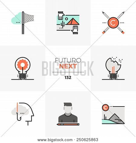 Modern flat icons set of computer hardware parts and components. Unique color flat graphics elements with stroke lines. Premium quality vector pictogram concept for web, logo, branding, infographics. stock photo