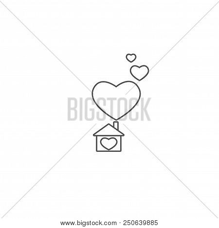 Flat black contour of the home. Simple silhouette of house with big hearts under chimney. Icon isolated stock photo