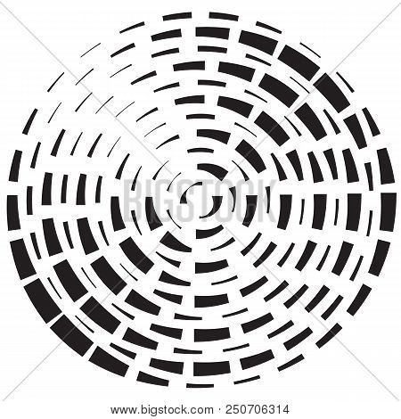 Geometric radial element. Abstract concentric, radial geometric motif rectangular pattern. Black on white silhouettes eps 10 vector illustration. stock photo