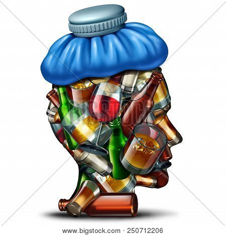 Hangover cures concept and sober up idea with a group of alcohol and alcoholic drinks shaped as a human head suffering from a severe headache with an ice bag as a 3D render. stock photo