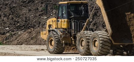 DUMP TRUCK - Vehicles on the construction site stock photo