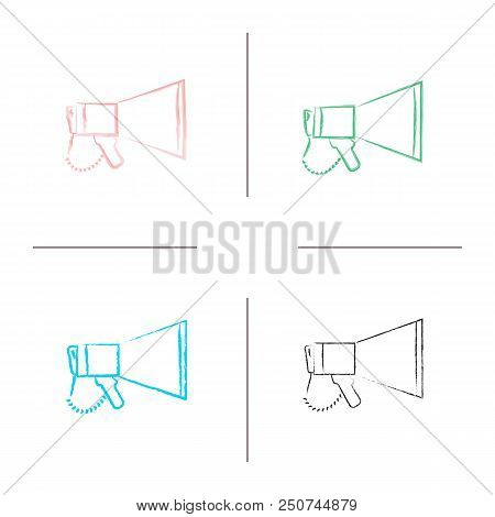 Megaphone hand drawn icons set. Breaking news. Announcement. Bullhorn. Color brush stroke. Isolated vector sketchy illustrations stock photo