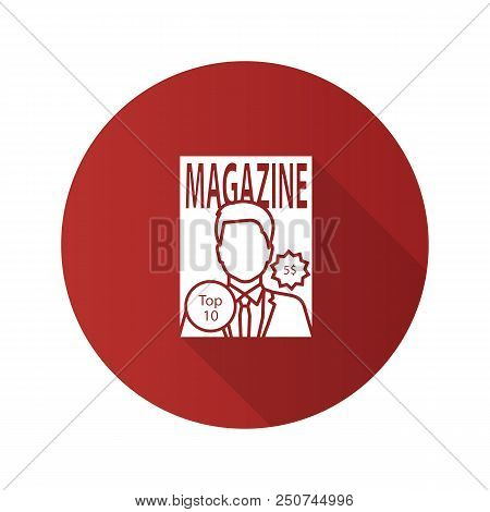 Magazine flat design long shadow glyph icon. Tabloid. Periodical publication with celebrity photo. Vector silhouette illustration stock photo