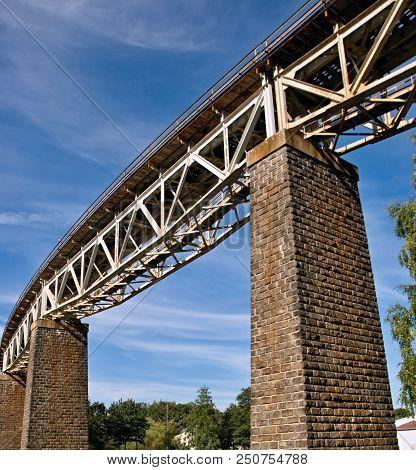 Steel truss railroad bridge, Velke Mezirici, Czech Republic stock photo