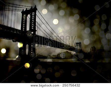 Night View. New York Manhattan Bridge. Bokeh. 3D rendering stock photo