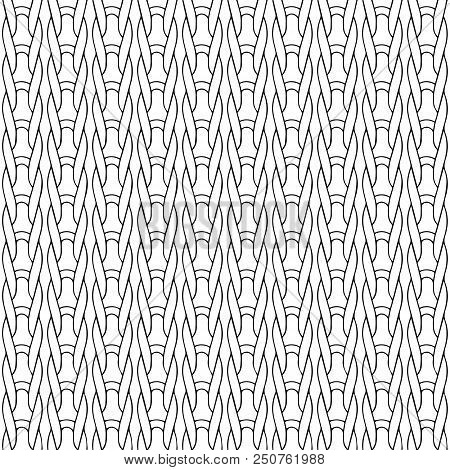 Braided vector seamless pattern. Monochrome black and white twisted background. Abstract textured ornaments. Template. For fabric, textile, wallpapers, design. Endless ornamental wicked texture stock photo