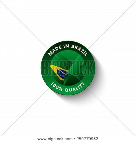 Made in Brazil badge with Brazil flag. Badge  with long shadow. Vector illustration. stock photo