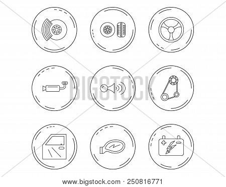 Accumulator, brakes and steering wheel icons. Generator belt, klaxon signal and car mirror linear signs. Door icon. Linear Circles web buttons with icons. Vector stock photo
