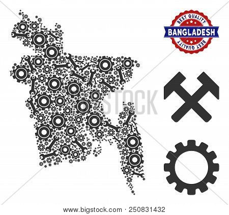 Repair workshop Bangladesh map composition of service tools. Abstract territorial plan in grey color and best quality reward. Vector Bangladesh map is shaped with cogs and wrenches. stock photo
