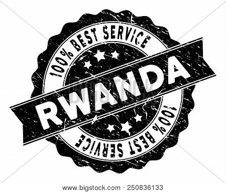 Rwanda stamp with Best Quality title. Vector black seal imprint imitation with grunge effect. Reward vector rubber seal stamp with grunge design for Rwanda products and services. stock photo