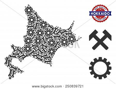 Repair service Hokkaido Island map mosaic of service tools. Abstract territorial scheme in grey color and best quality mark. Vector Hokkaido Island map is made of gearwheels and wrenches. stock photo