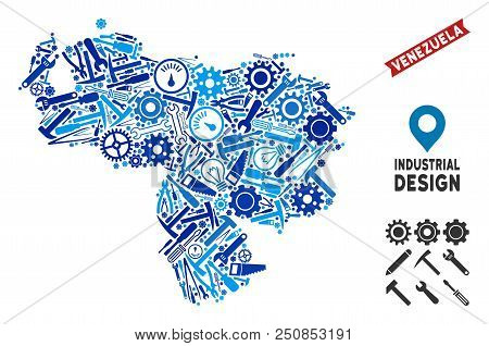 Workshop Venezuela map mosaic of cogs, wrenches, hammers and other tools. Abstract territory plan in blue color tints. Vector Venezuela map is designed of tools. Concept for industrial workshop. stock photo