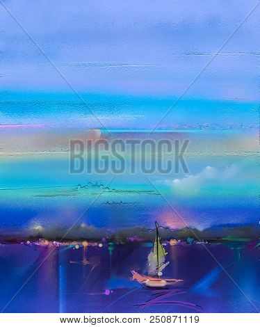 Colorful oil painting on canvas texture. Impressionism image of seascape paintings with sunlight background. Modern art oil paintings with boat, sail on sea. Abstract contemporary art for background stock photo