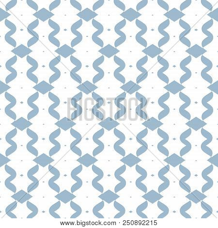 Blue mesh seamless pattern. Subtle vector abstract geometric ornament with curved lines, delicate mesh, net, grid, lattice, lace. Soft blue and white luxury background texture. Elegant repeat design. Chain pattern. Mesh pattern. Lattice pattern. stock photo