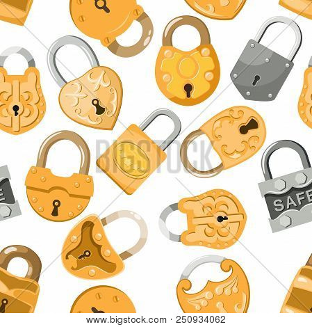 Padlock vector lock for safety and security protection with locked secure mechanism to interlock or lockout locking system illustration set seamless pattern background. stock photo