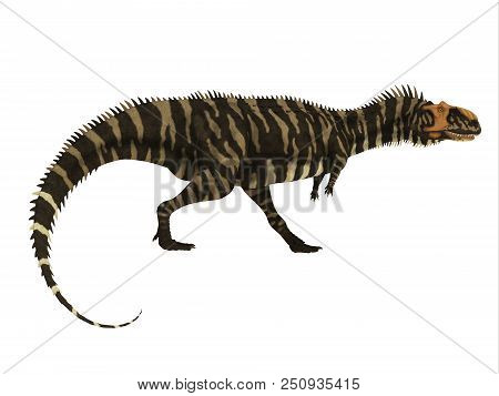 Rajasaurus Dinosaur Side Profile 3D illustration - Rajasaurus was a carnivorous theropod dinosaur that lived in India during the Cretaceous Period. stock photo