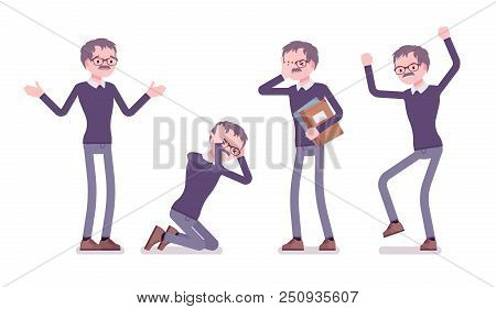 Male teacher negative emotions. School, universirty or college worker, at lesson for students. Professional education and learning. Vector flat style cartoon illustration isolated on white background stock photo